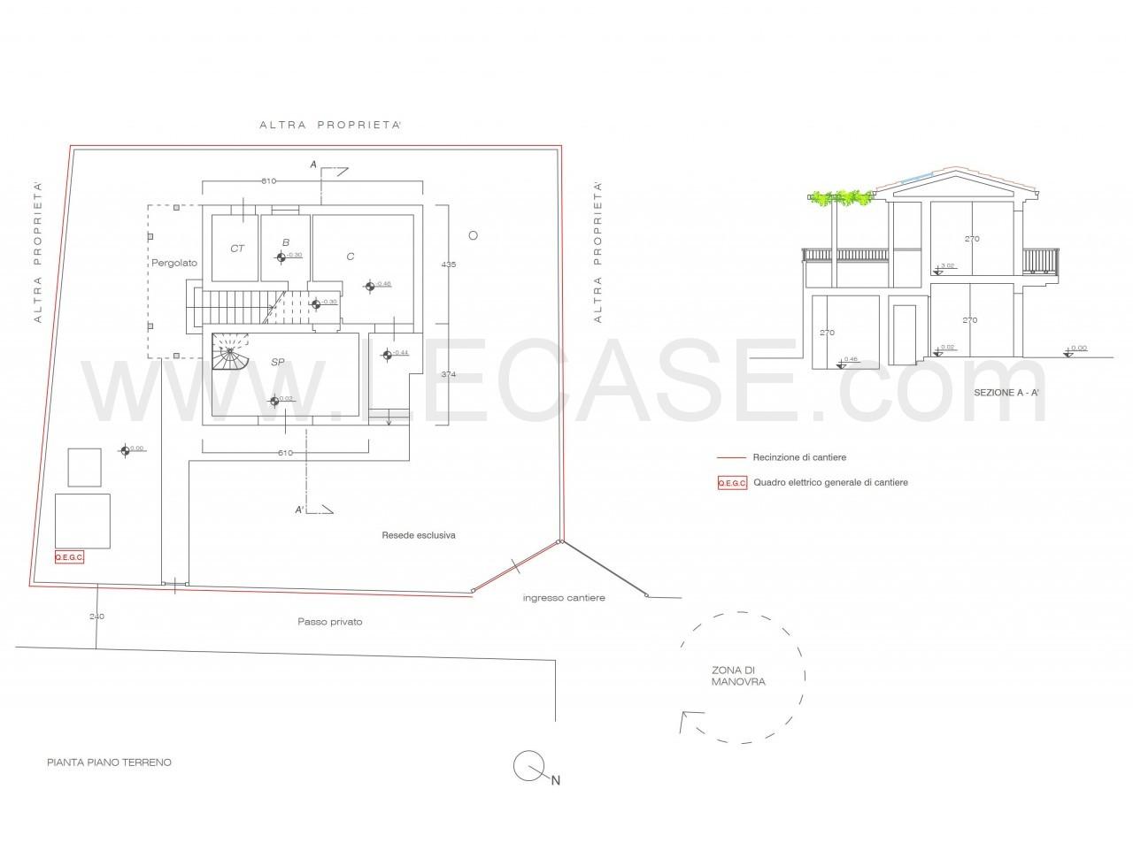 Terreno edificabile con progetto approvato per villa singola centrale in vendita