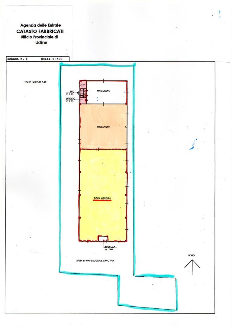 BERTIOLO (UD) VENDESI ATTIVITA' COMMERCIALE SU CAPANNONE MQ. 1.600 STRADA NAPOLEONICA
