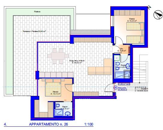 Laives, nuova costruzione, trilocale al quarto piano